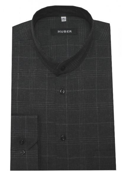 HUBER Stehkragen Hemd grau HU-0520 Regular