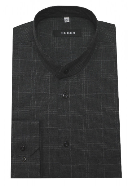 HUBER Stehkragen Hemd grau HU-0520 Regular Fit