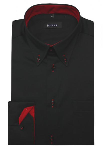HUBER Hemd mit Button-down-Kragen schwarz-rot Regular Fit HU-0098