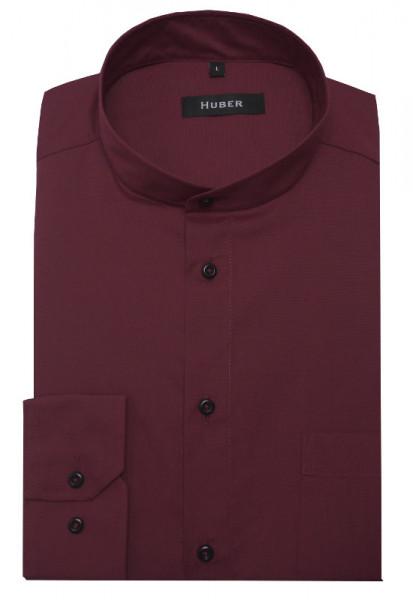 HUBER Stehkragen Hemd rot weinrot Regular Fit bügelleicht HU-0657