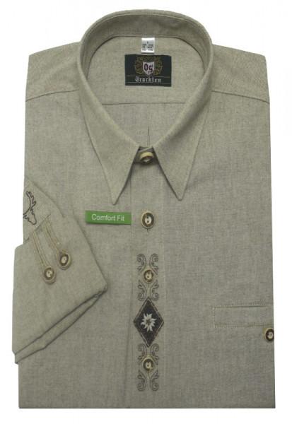 Orbis Trachtenhemd beige braun mit Stickerei Krempelarm OS-0214 Comfort Fit