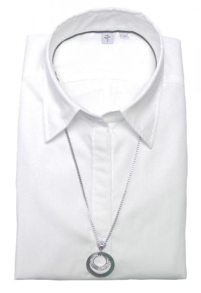 Seidensticker Bluse weiß +Kette SB-1001 Slim Line