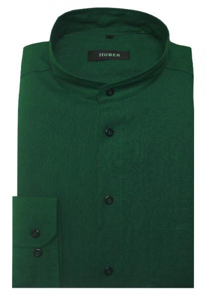 HUBER Stehkragen Hemd grün 100% Leinen nachhaltig Regular HU-0040