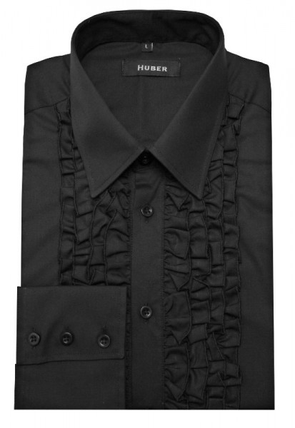 HUBER Rüschen Hemd schwarz Qualität Made in EU HU-0092 Comfort Fit