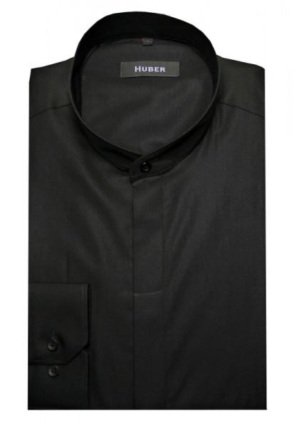 HUBER Stehkragen Hemd schwarz verdeckte Leiste HU-0002 Regular