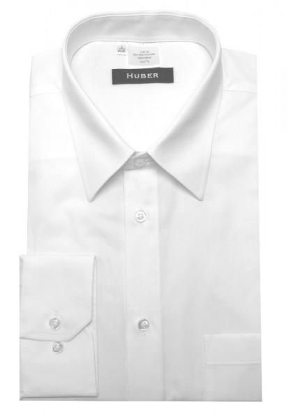 HUBER Hemd Langarm weiß nachhaltige Bio-Baumwolle HU-0068 Regular