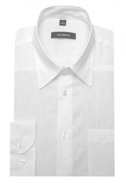 HUBER Leinen Hemd weiß feines Halbleinen HU-0420 Regular