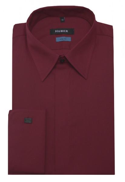 HUBER Umschlag-Manschetten Hemd rot HU-0364 Slim Fit
