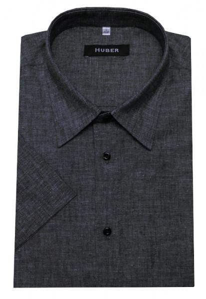 Leinen Hemd grau von HUBER Kurzarm Leinenmischung