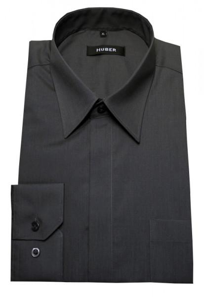 Festliches Hemd grau verdeckte Knopfleiste von HUBER