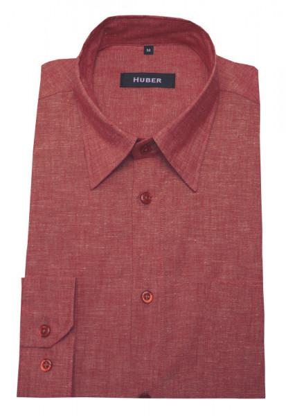 HUBER Leinen Hemd rot Halbleinen HU-90421 Regular