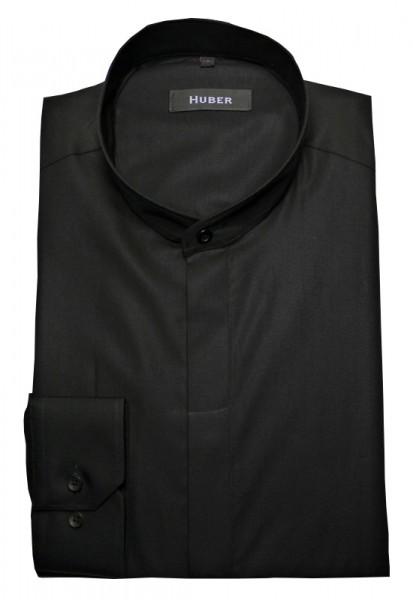 HUBER Stehkragen Hemd schwarz verdeckte Knopfleiste von HUBER