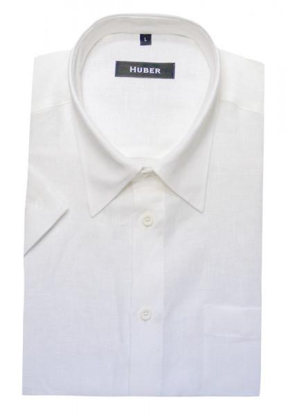 Leinenhemd von HUBER Kentkragen Kurzarm weiß hochwertiges Leinen
