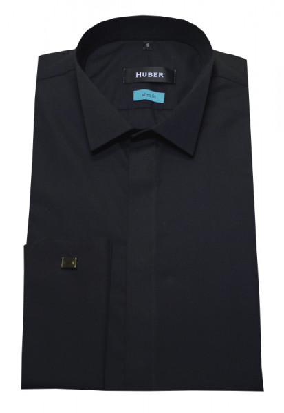 HUBER Smoking Hemd schwarz verdeckte Knopfleiste HU-0352 Slim Fit