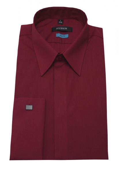 Umschlag-Manschetten Hemd wein-rot Slim Fit von HUBER