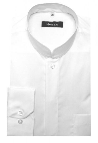 HUBER Stehkragen Hemd weiß mit Asia Kragen HU-0071 Regular Fit