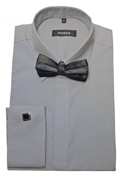 HUBER Umschlag-Manschetten Hemd grau +Fliege HU-1014 Regular
