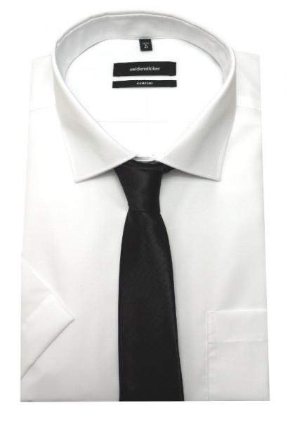 Seidensticker Kurzarm Hemd weiß+Krawatte Schwarze Rose bügelfrei SC-2101 Comfort Fit