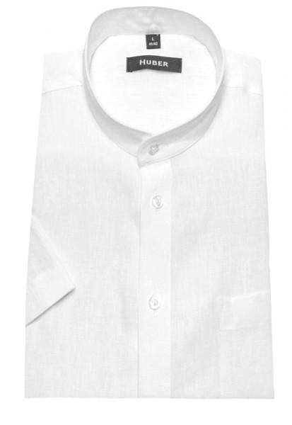 HUBER Stehkragen Leinen Hemd weiß Kurzarm HU-0114 Regular Fit