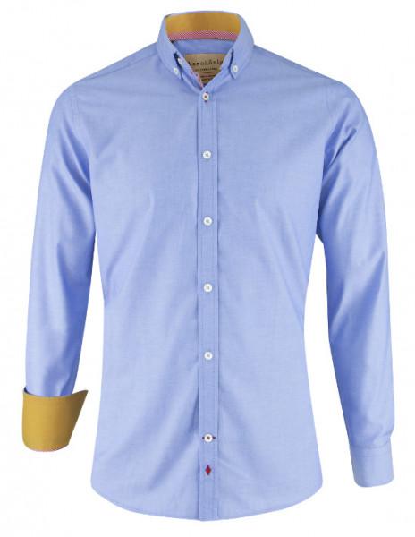 Karokönig Hemd hellblau aus Bio-Baumwolle zertifiziert KK-0002 Regular tailliert