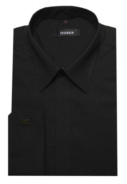 HUBER Umschlag Manschetten Hemd schwarz HU-0012 Regular