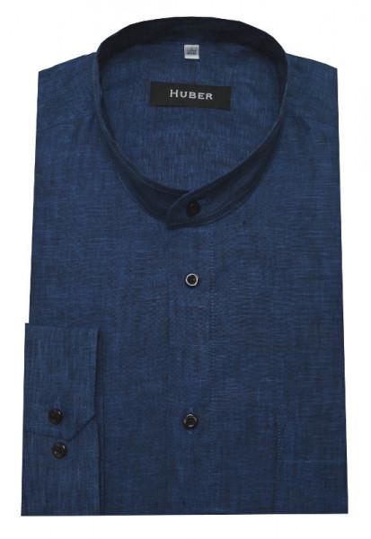 Stehkragen Herren Leinen Hemd marine blau Langarm Regular Fit HU-0041