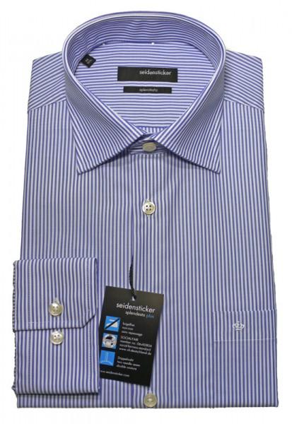 Seidensticker Hemd blau gestreift bügelfrei SP-0051 Modern Fit