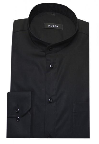 HUBER Stehkragen Hemd schwarz Regular Baumwolle HU-0009