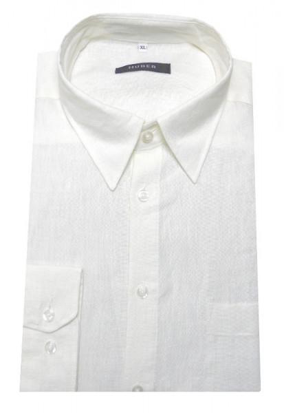 Leinen Hemd weiß von HUBER Kent-Kragen