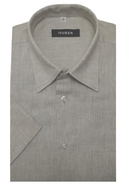 HUBER Leinen Hemd beige Kurzarm HU-0104 Regular