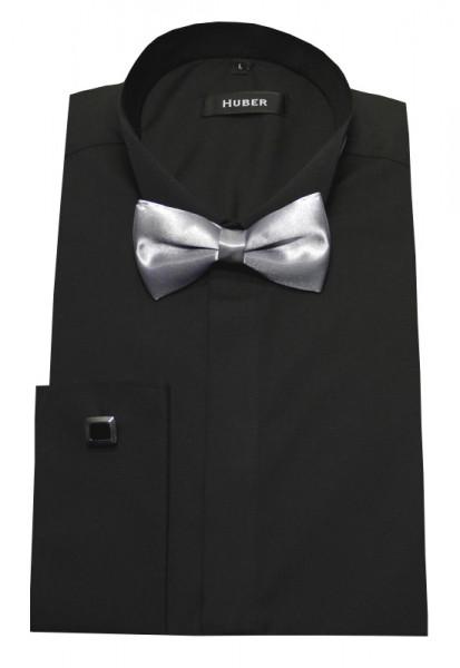Slim Fit Smoking Hemd schwarz von HUBER +Fliege