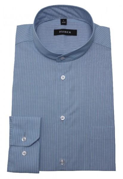 HUBER Stehkragen Hemd blau gestreift HU-0078 Regular