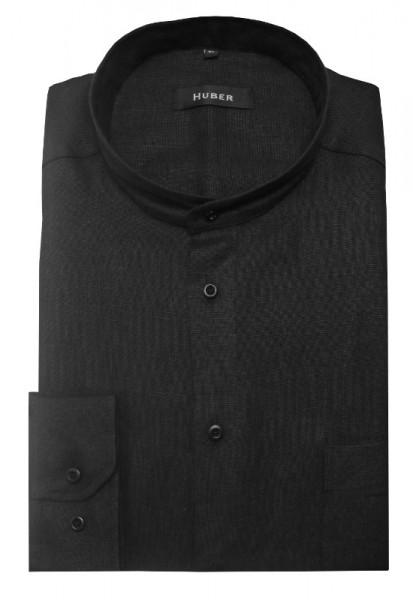 HUBER Stehkragen Hemd schwarz 100% Leinen feiner Stoff Regular Fit HU-0468