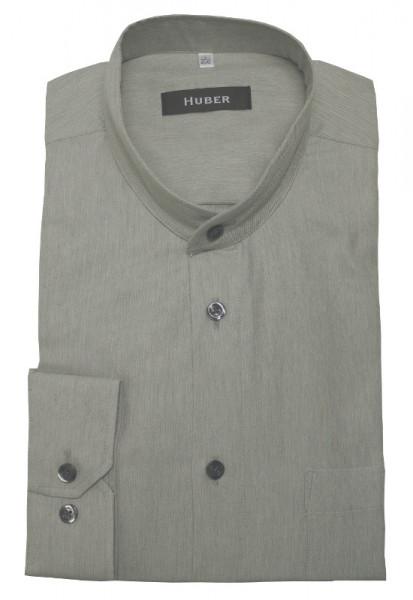 HUBER Stehkragen Hemd grau leichter Flanell HU-0404 Regular
