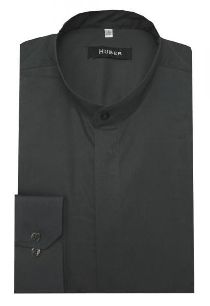 HUBER Stehkragen Hemd grau verdeckte Leiste HU-0006 Regular