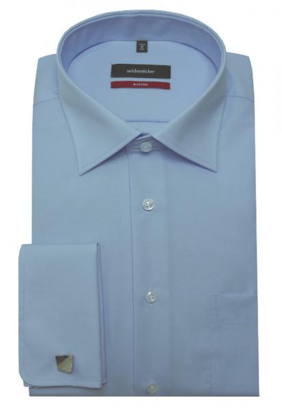 Seidensticker Umschlag-Manschetten Hemd blau inkl. Manschettenknöpfe SP-2085 Regular Fit