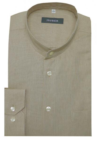 HUBER Stehkragen Hemd beige camel HU-0403 Regular Fit