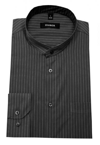 Stehkragen Hemd grau gestreift von HUBER