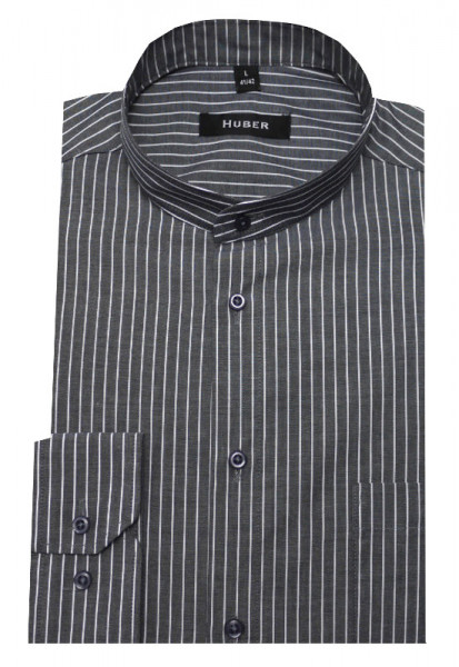 HUBER Stehkragen Hemd grau weiß gestreift HU-0030 Regular