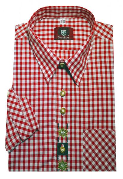 Orbis Trachtenhemd rot-weiß +Stick Krempelarm OS-0103 Regular Fit