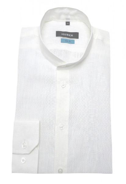 HUBER Stehkragen Leinen Hemd weiß Langarm HU-90391 Slim Fit