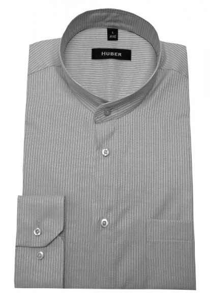 Stehkragen Hemd grau weiß gestreift von HUBER