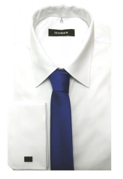 HUBER Umschlag-Manschetten Hemd weiß inkl.Krawatte blau HU-5211 Regular