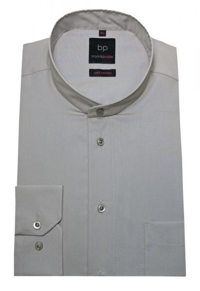 HUBER Stehkragen Hemd grau bügelleicht Label Black & Purple HU-0653 Regular Fit