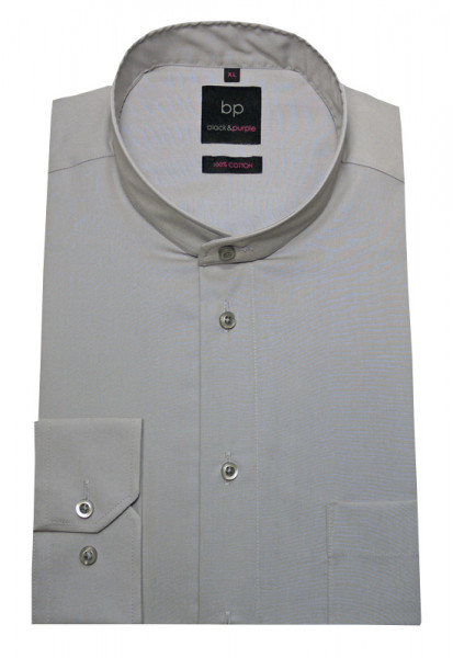 HUBER Stehkragen Hemd grau Regular Fit Label Black & Purple HU-0653