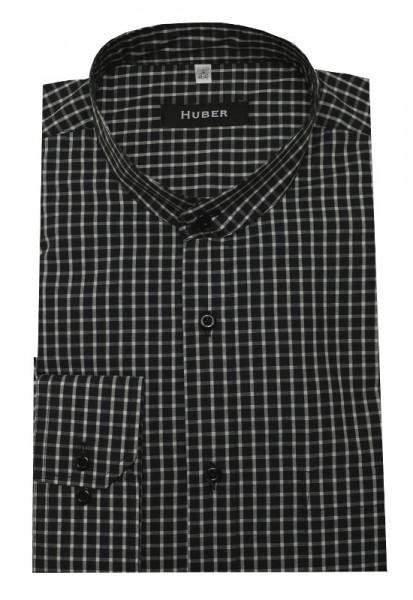 HUBER Stehkragen Hemd schwarz weiß kariert HU-0454 Regular