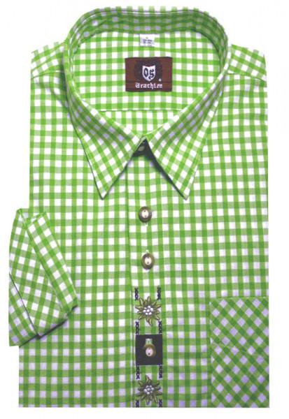 Orbis Trachtenhemd grün-weiß mit Stickerei Krempelarm OS-0101 Regular Fit