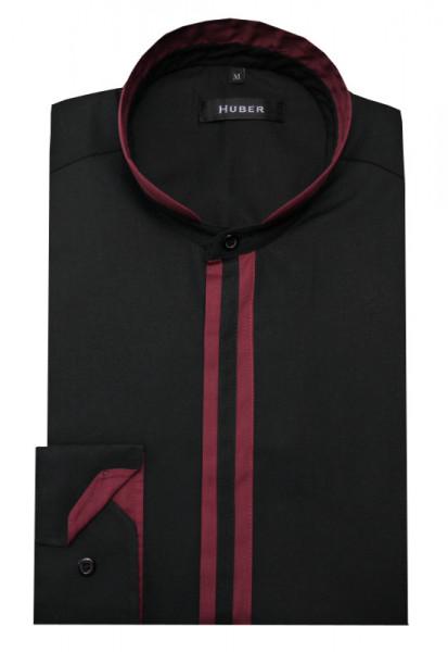 HUBER Stehkragen Hemd schwarz-weinrot HU-0089 Regular
