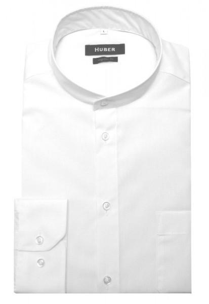 HUBER Stehkragen Hemd weiß HU-0650 Regular Fit