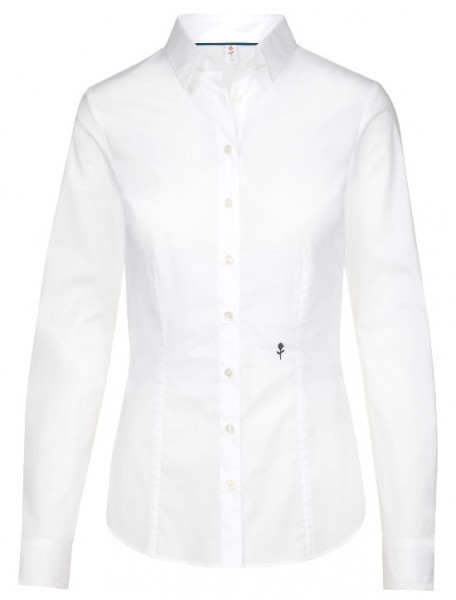 Damen Bluse weiß bügelfrei Seidensticker Schwarze Rose Slim